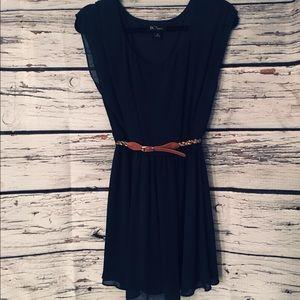 BCX Navy Blue Dress w/multicolor belt. Size: M